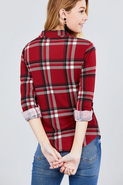 Red and black plaid shirt for women - Tops and Blouses