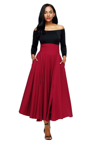 Red Retro High Waist Pleated Belted Maxi Skirt - Skirts