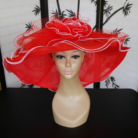 Amazing Red and White Dress Church Hat - Hat