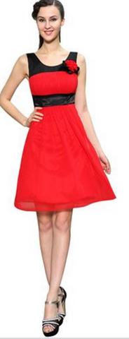 Sleeveless red and black party dress - dress