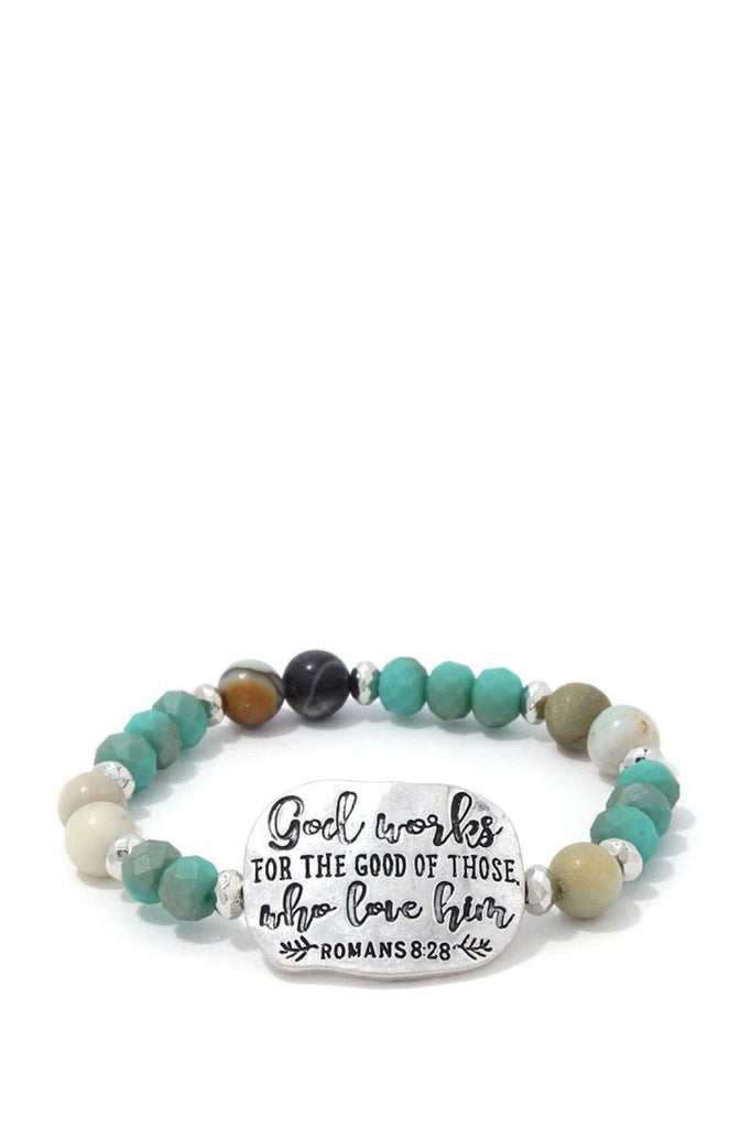 Romans 8:28 Beaded Stretch Bracelet - jewelry