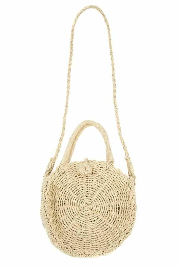 Round woven straw shoulder bag - Purses and Handbags