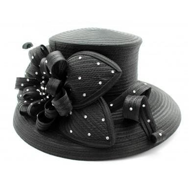 Satin Braid Dress Hat in Black - Hat