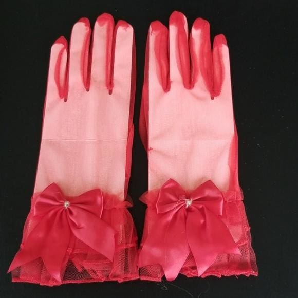 Sheer Red Gloves with Wrist Bow - Gloves