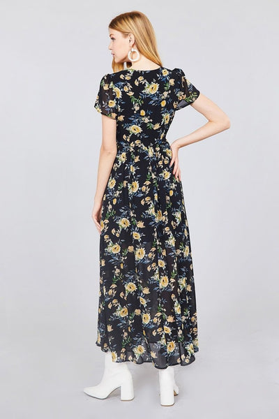 Short Sleeve V-neck Wrapped W/bow Tie Floral Print Maxi Dress - Dresses