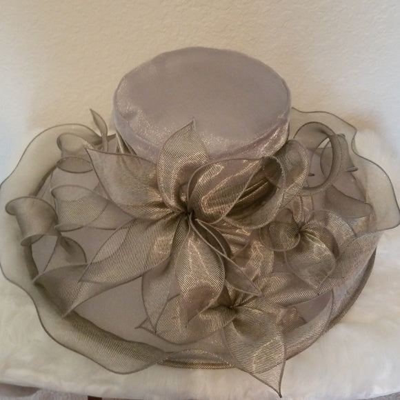 Ladies Beautiful Gray/Silver Organza Sunday Best Hat - Hat
