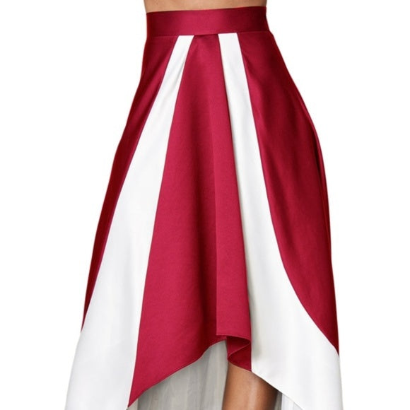 White and Burgundy White Contrast Hi-Lo Maxi Skirt Size L - Skirts