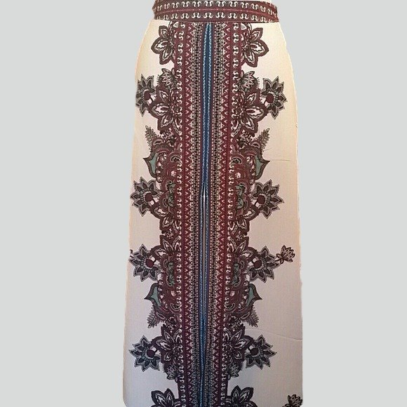 Beautiful cream skirt with burgundy paisley front with front slit. - Exclusively You Fashions Boutique, Frostproof, FL