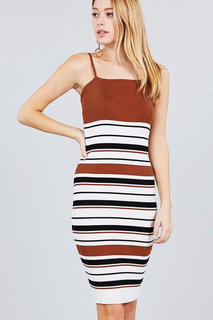 Straight Neck Multi Stripe Cami Mini Sweater Dress - Dresses