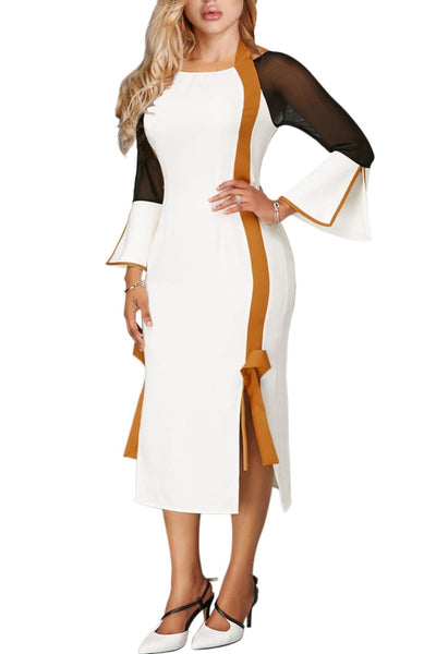 White and Gold Side Slit Flare Sleeve Tie Back Dress - Clothes Dresses