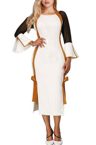 White and Gold Side Slit Flare Sleeve Tie Back Dress - XL US (16-18) - Clothes Dresses