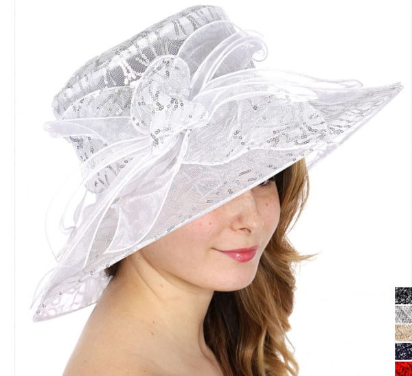 White and silver sequin dress hat with bow - Hat