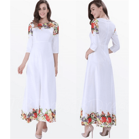 Elegant Women's White  Summer Chiffon Dress with 3/4 sleeves. Size M - Dresses-Exclusively You Fashions - 1