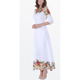 Elegant Women's White  Summer Chiffon Dress with 3/4 sleeves. Size M - Dresses-Exclusively You Fashions - 2