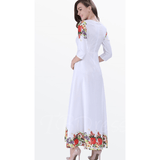 Elegant Women's White  Summer Chiffon Dress with 3/4 sleeves. Size M - Dresses-Exclusively You Fashions - 3