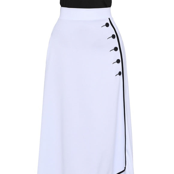 Black Retro Maxi Skirt with White Pipe Buttons - XL / White - skikrt