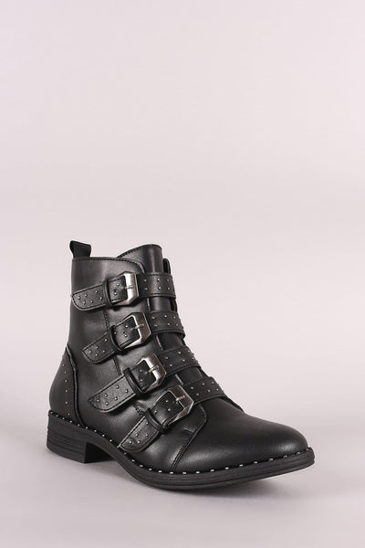Wild Diva Lounge Studded Buckled Strap Moto Ankle Boots - Shoes Booties Boots