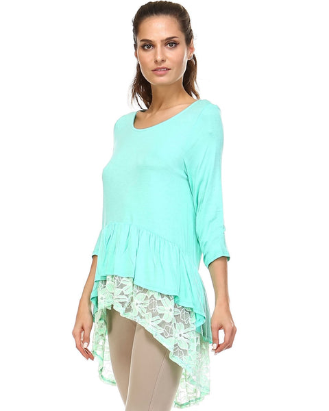 Womens 3/4 Three Quarter Sleeve Hi-Low Top with Lace Hem Detail - Clothes Tops