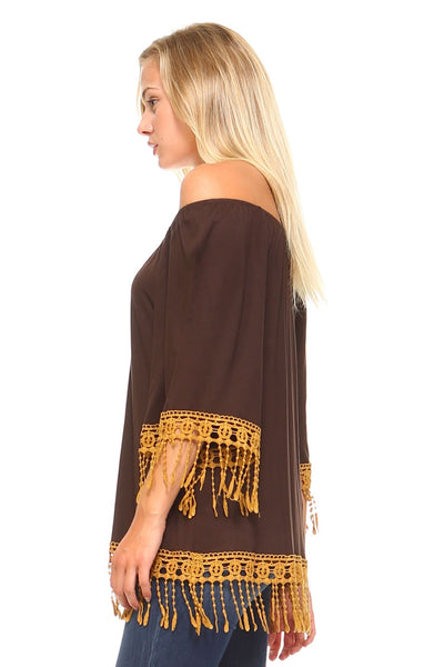Womens Crochet Lace Tunic - Clothes Tops
