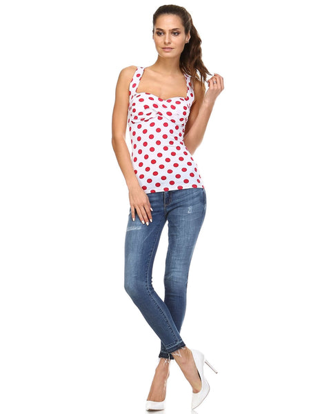 Womens Cross Back Polka Dot Tank - Clothes Tops
