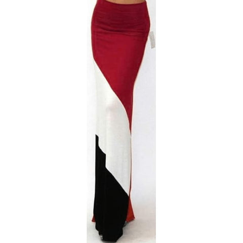 Womens long red white and black maxi skirt with high waist. Size M - Skirts