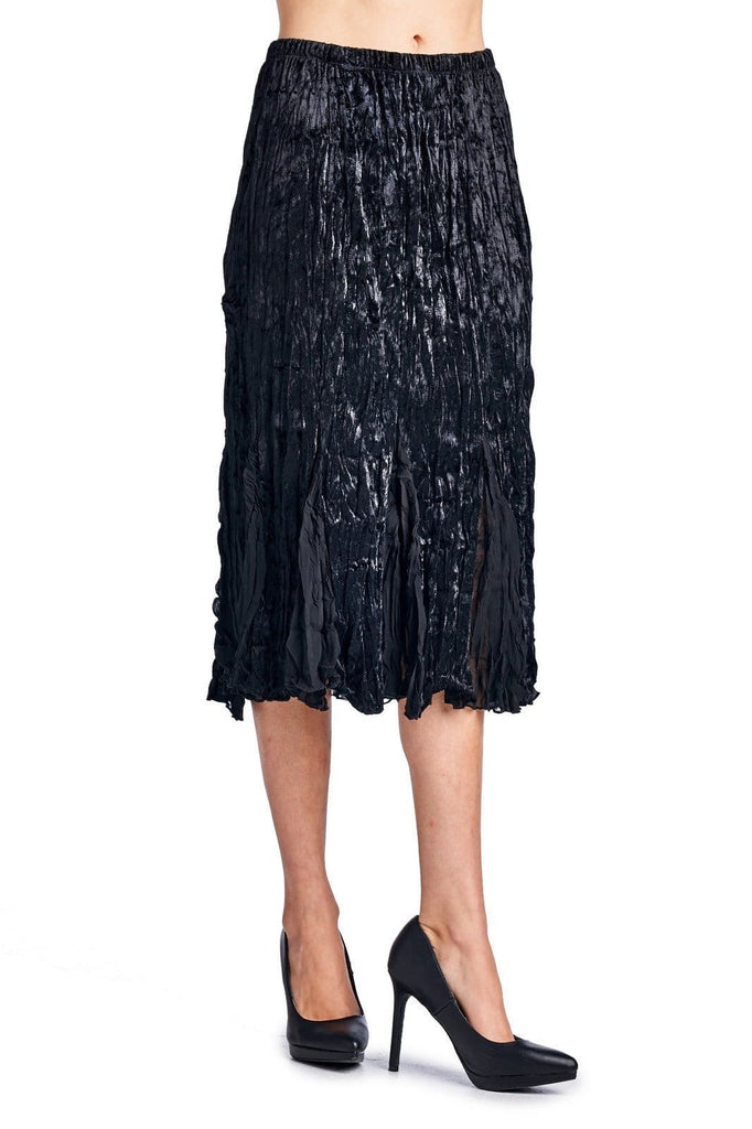 Womens Pleated Velour with Chiffon Long Skirt - Clothes Skirts & Midi