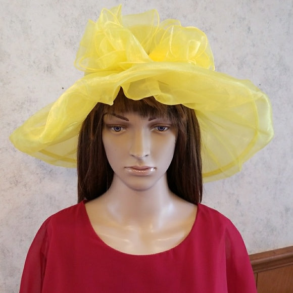 Yellow Dress Hat with Gorgeous Bow - Hat