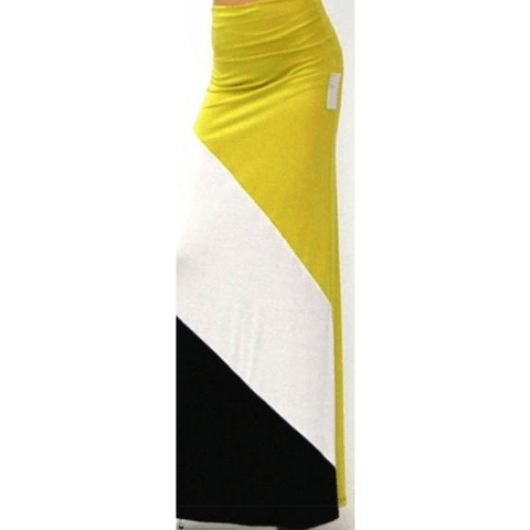 Womens Long Yellow white and black maxi skirt with high waist. Size L - Skirts