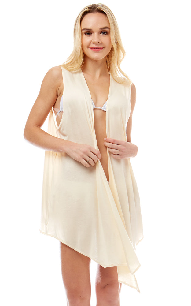LOF1044 Solid Color Light weight Vest Cover Up