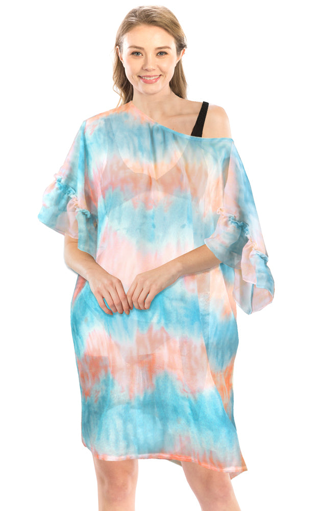 LOF1173 Tie Dye Ruffle Sleeves Poncho Cover Up