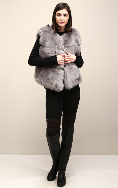 MSF2003 Grey Faux Fur Vest