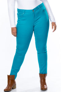 Ladies fashion plus size mid rise skinny cotton spandex pants