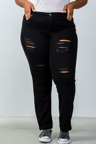 Ladies fashion plus size mid rise distressed jeans