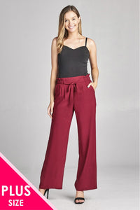 Ladies fashion plus size self ribbon detail long wide leg woven pants