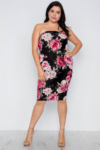 2-way Wear: Plus Size Floral Print Tube Midi Dress - Long Skirt