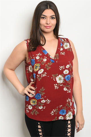BURGUNDY WITH FLOWER PRINT PLUS SIZE TOP