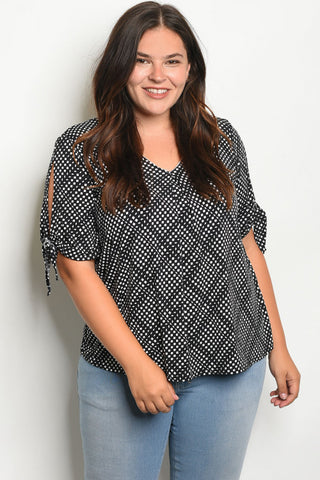 BLACK OFF WHITE PATTERNED COLD SHOULDER PLUS SIZE TOP