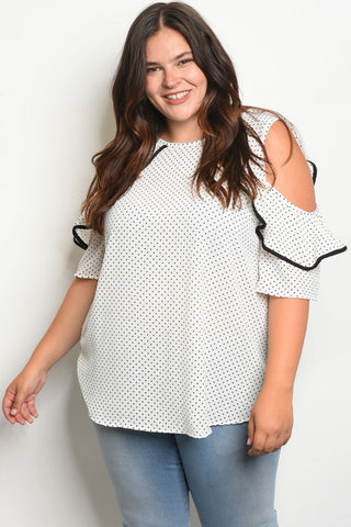 OFF WHITE BLACK WITH POLKA DOTS PLUS SIZE TOP
