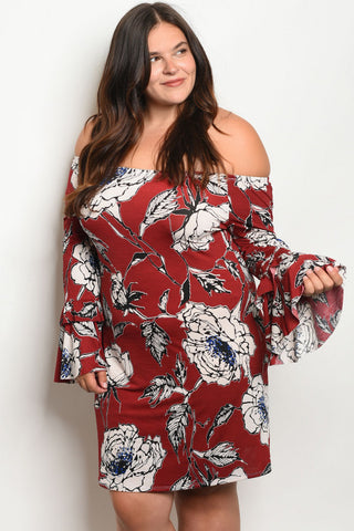 BURGUNDY W WHITE FLORAL OFF SHOULDER PLUS SIZE DRESS