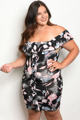 Plus Size Black w Pink Floral Bodycon Dress
