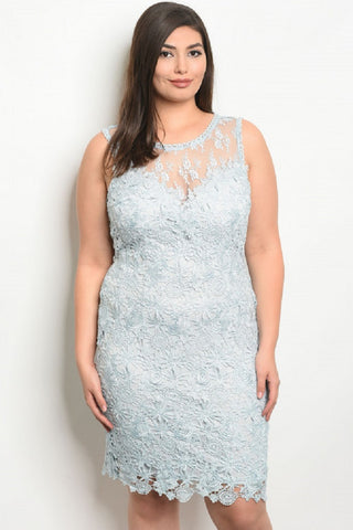 Baby Blue Crochet Lace Dress with Mesh Trim