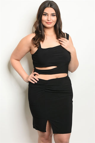 Black Plus Size Cut Out Front Bodycon Dress