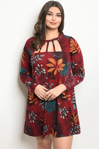 Burgundy Plus Size Long Sleeve Neckline Detail Tunic Dress.