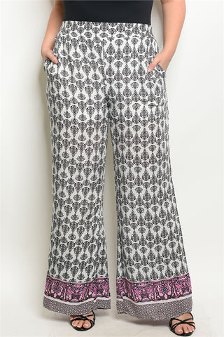 Plus Size Fitted Waist Ivory Printed Wide Leg Trousers.