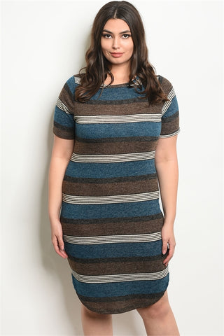 Brown and Teal Plus Size Striped Knit Tunic Dress