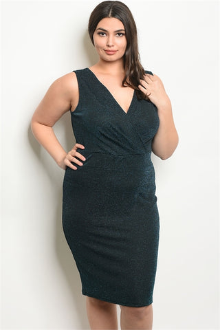 Black w Teal Shimmer Plus Size Bodycon Dress