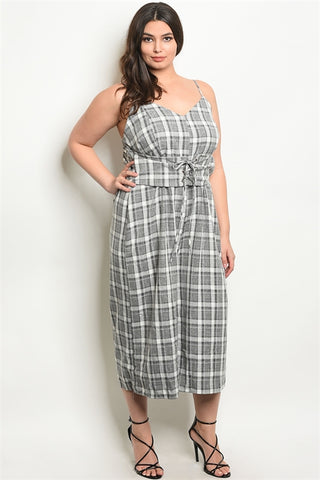 Gray Plus Size Corset Waist Plaid Jumpsuit.