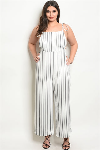 White and Black Striped Plus Size Wide Leg Jumpsuit