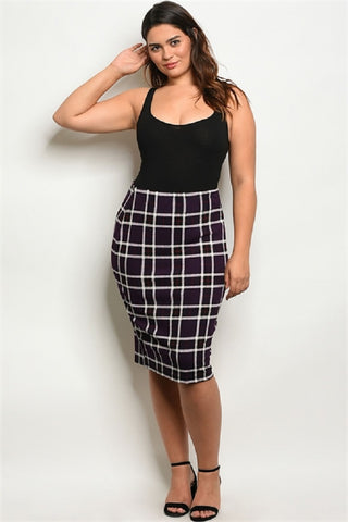 Purple Checkerd Plus Size Midi Skirt