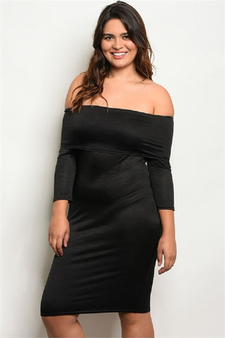Plus Size Long Sleeve Off Shoulder Bodycon Midi Dress.